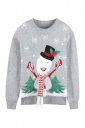 Womens Crew Neck Snowman Snowflake Printed Ugly Christmas Sweater Gray