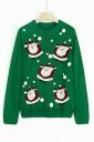 Womens Crew Neck Venonat Santa Printed Ugly Christmas Sweater Green