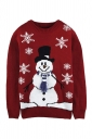Womens Crew Neck Snowflake Snowman Printed Ugly Christmas Sweater Red