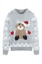 Women Crew Neck Reindeer Snowflake Printed Ugly Christmas Sweater Gray