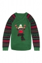 Womens V-Neck Ugly Christmas Reindeer Printed Fair Isle Sweater Green