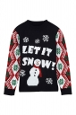 Womens Snowman Snowflake Printed Ugly Christmas Sweater Black