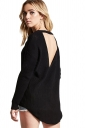 Womens Sexy Halter Backless Long Sleeve Plain Pullover Sweater Black