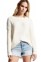 Womens Sexy Halter Backless Long Sleeve Plain Pullover Sweater White