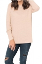 Womens Crew Neck Long Sleeve Side Slit Plain Pullover Sweater Apricot