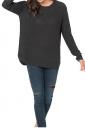Womens Crew Neck Long Sleeve Side Slit Plain Pullover Sweater Black