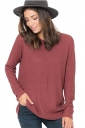 Womens Crew Neck Long Sleeve Side Slit Plain Pullover Sweater Coral
