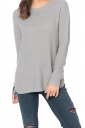 Womens Crew Neck Long Sleeve Side Slit Plain Pullover Sweater Gray