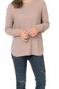 Womens Crew Neck Long Sleeve Side Slit Plain Pullover Sweater Khaki