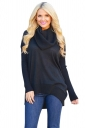 Womens Oversized Cowl Neck High Low Hem Plain Pullover Sweater Black