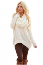 Womens Oversized Cowl Neck High Low Hem Plain Pullover Sweater White