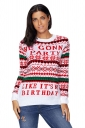 Womens Long Sleeve Christmas Snowflake Printed Fair Isle Sweater White