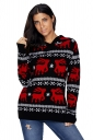 Womens Hooded V-Neck Reindeer Printed Christmas Sweater Black