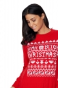 Womens Long Sleeve Crew Neck Snowflake Printed Christmas Sweater Red
