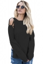 Womens Sexy Cold Shoulder Lace Up Side Slit Pullover Sweater Black