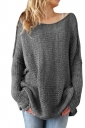Womens Round Neck Long Sleeve Ribbed Knit Plain Pullover Sweater Gray