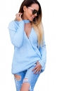 Womens Sexy Long Sleeve Cut Out Reversible Plain Pullover Sweater Blue