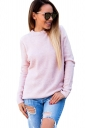Womens Sexy Long Sleeve Cut Out Reversible Plain Pullover Sweater Pink