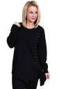 Women Round Neck Long Sleve Eyelet Lace Up Slit Pullover Sweater Black