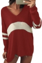 Womens V-Neck Long Sleeve Stripe Dip Hem Loose Pullover Sweater Ruby