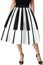 Womens High Waisted Piano Key Printed Pleated Skirt Black And White