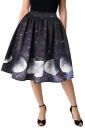 Womens Elegant High Waisted Moon Printed Galaxy Pleated Skirt Black