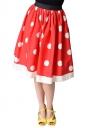 Womens Cute High Waisted Polka Dot Pleated Skirt Red
