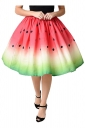 Womens High Waisted Watermelon Pattern Pleated Skirt Watermelon Red