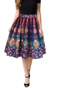 Womens High Waisted Tracery Pattern Pleated Skirt Navy Blue