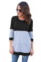 Womens Casual Contrast Color Long Sleeve Crew Neck T-Shirt Black