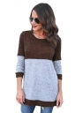 Womens Casual Contrast Color Long Sleeve Crew Neck T-Shirt Brown