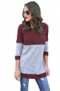 Womens Casual Contrast Color Long Sleeve Crew Neck T-Shirt Red
