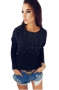 Womens Sexy Crew Neck Long Sleeve Rhinestone T-Shirt Black