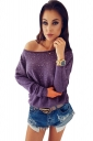 Womens Sexy Crew Neck Long Sleeve Rhinestone T-Shirt Purple