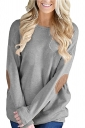 Womens Oversized Long Sleeve Crew Neck Midi T-Shirt Light Gray