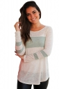 Womens Oversized Crew Neck Long Sleeve Color Block T-Shirt Light Green