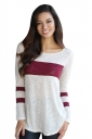 Womens Oversized Crew Neck Long Sleeve Color Block T-Shirt Ruby