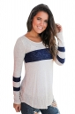 Womens Oversized Crew Neck Long Sleeve Color Block T-Shirt Navy Blue