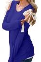 Womens Sexy Cold Shoulder Lace Up Crew Neck Plain T-Shirt Blue