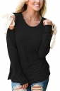 Womens Sexy Cold Shoulder Lace Up Crew Neck Plain T-Shirt Black