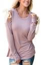 Womens Sexy Cold Shoulder Lace Up Crew Neck Plain T-Shirt Light Purple