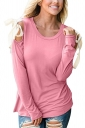 Womens Sexy Cold Shoulder Lace Up Crew Neck Plain T-Shirt Pink