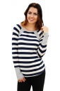 Womens Casual Striped Pattern Long Sleeve Crew Neck T-Shirt Gray