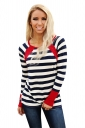 Womens Casual Striped Pattern Long Sleeve Crew Neck T-Shirt Red