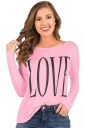 Womens Oversized Crew Neck Long Sleeve Words Printed T-Shirt Pink