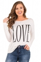Womens Oversized Crew Neck Long Sleeve Words Printed T-Shirt White