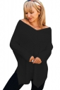 Womens Sexy V-Neck Long Sleeve Side Slit Plain T-Shirt Black