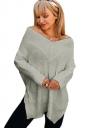 Womens Sexy V-Neck Long Sleeve Side Slit Plain T-Shirt Gray