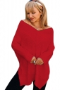 Womens Sexy V-Neck Long Sleeve Side Slit Plain T-Shirt Red