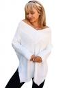 Womens Sexy V-Neck Long Sleeve Side Slit Plain T-Shirt White